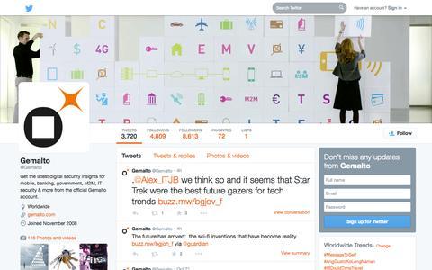 Screenshot of Twitter Page twitter.com - Gemalto (@Gemalto) | Twitter - captured Oct. 22, 2014