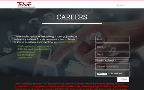 Screenshot of Jobs Page telumcorp.com - Careers - captured Oct. 1, 2014