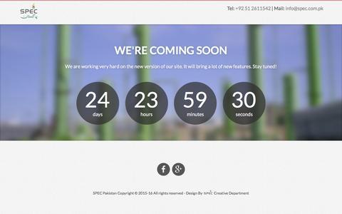Screenshot of Home Page spec.com.pk - SPEC Pakistan - captured Sept. 30, 2016