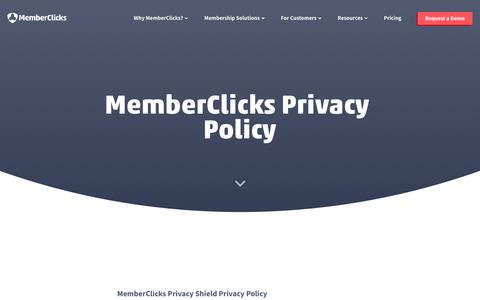 Screenshot of Privacy Page memberclicks.com - MemberClicks | Privacy Policy - captured July 23, 2019