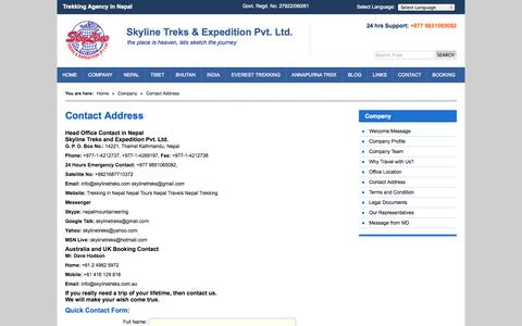 Screenshot of Contact Page skylinetreks.com - Contact Address - Trekking Agency in Nepal - captured Oct. 26, 2014