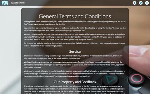 Screenshot of Terms Page singon.com - SingOn - General Terms and Conditions - captured Nov. 2, 2014