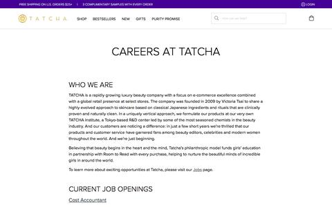 Screenshot of Jobs Page tatcha.com - Careers at Tatcha - captured April 22, 2018