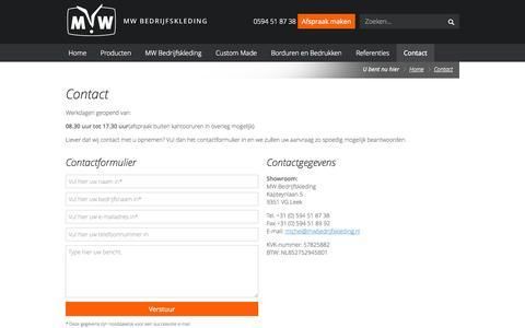 Screenshot of Press Page mwbedrijfskleding.nl - Contact | MW Bedrijfskleding - captured Oct. 3, 2014
