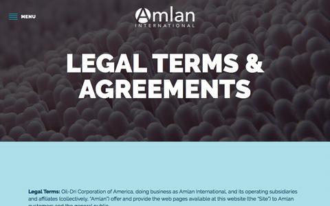Screenshot of Terms Page amlan.com - Legal - Amlan International - captured Oct. 8, 2017