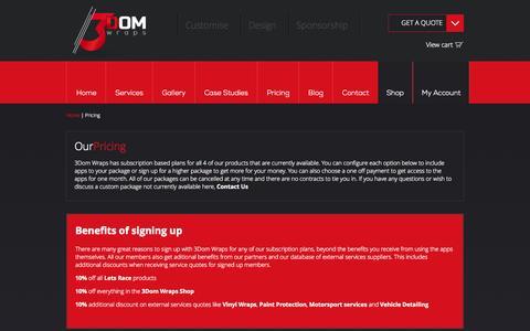 Screenshot of Pricing Page 3domwraps.com - Motorsport Sponsorship Subscriptions   3Dom Wraps - captured Oct. 29, 2014