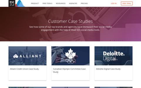 Screenshot of Case Studies Page rivaliq.com - Case Studies   Rival IQ - captured Sept. 26, 2019
