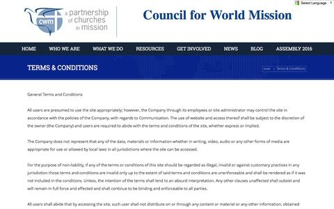 Screenshot of Terms Page cwmission.org - Council for World Mission        Terms & Conditions - Council for World Mission - captured Feb. 1, 2016