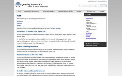 Screenshot of Terms Page spray.de - Düsen, Düsensteuerung, Düsensysteme, Düsenherstellung, Sprühsysteme vom Experten in der Sprühtechnik, Spraying Systems Deutschland | Düsen | Duesen | Duese | Düse - Spraying Systems Co - captured Oct. 19, 2018