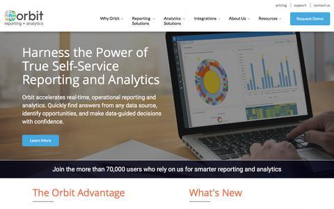 Screenshot of Home Page orbitanalytics.com - Self Service Reporting and Analytics | Orbit Analytics - captured July 12, 2019