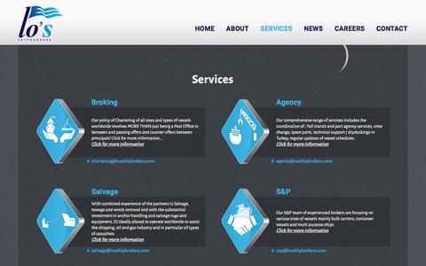 Screenshot of Services Page iosshipbrokers.com - Io's Shipbrokers • Services - captured July 27, 2018