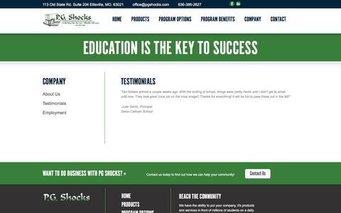 Screenshot of Testimonials Page pgshocks.com - Testimonials | PG Shocks - captured July 14, 2018