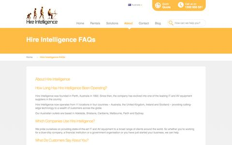 Screenshot of FAQ Page hire-intelligence.com.au - Hire Intelligence FAQs - captured Nov. 10, 2016