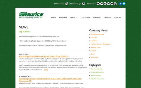 Screenshot of Press Page maurice.net - News | Maurice Sporting Goods - captured Oct. 27, 2014
