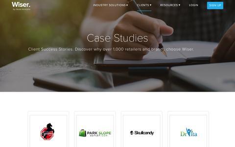 Screenshot of Case Studies Page wiser.com - Case Studies - Wiser, a Quad Analytix company - captured April 3, 2017