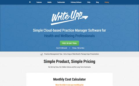 Screenshot of Pricing Page writeupp.com - WriteUpp | Pricing starting from just £14.95/month - captured Oct. 9, 2014