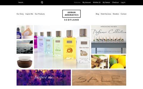 Screenshot of Home Page arranaromatics.com - Arran Aromatics Official Online Store  | Arran Aromatics - captured Sept. 11, 2014