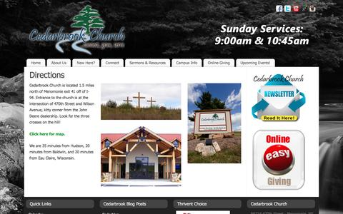 Screenshot of Maps & Directions Page cedarbrookchurch.net - Directions | Cedarbrook Church - captured Dec. 7, 2015