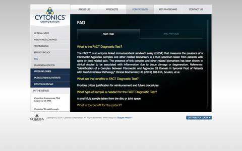 Screenshot of FAQ Page cytonics.com - CytonicsFAQ | Cytonics - captured Sept. 12, 2014