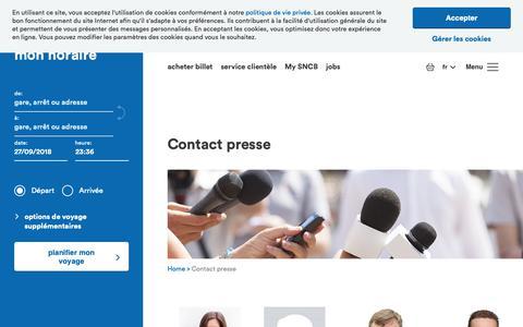 Screenshot of Press Page belgiantrain.be - Contact presse - captured Sept. 27, 2018