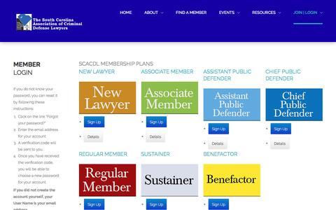 Screenshot of Signup Page scacdl.org - Select Membership - captured Jan. 28, 2017