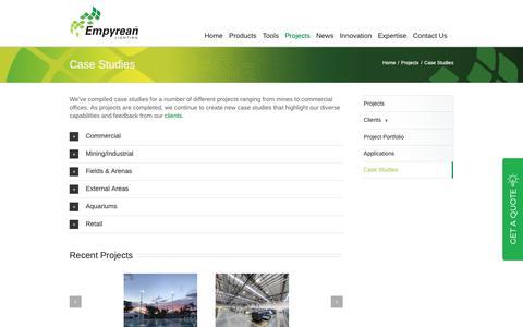 Screenshot of Case Studies Page empyreanlighting.com - Case Studies | LED Applications | Empyrean Lighting - captured Dec. 8, 2018