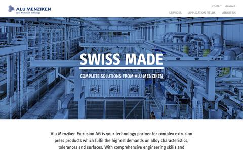 Screenshot of Home Page alu-menziken.com - ALU MENZIKEN, brings aluminium into top form. Your technology partner for complex extrusion press products. - captured Oct. 3, 2014