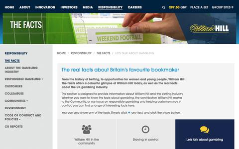 Screenshot of williamhillplc.com - William Hill PLC: Lets talk about gambling                 - The Facts                 - Responsibility - captured Oct. 22, 2016