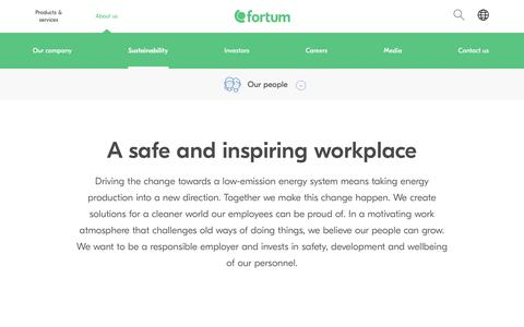 Screenshot of Team Page fortum.com - A safe and inspiring workplace | Fortum - captured June 2, 2018