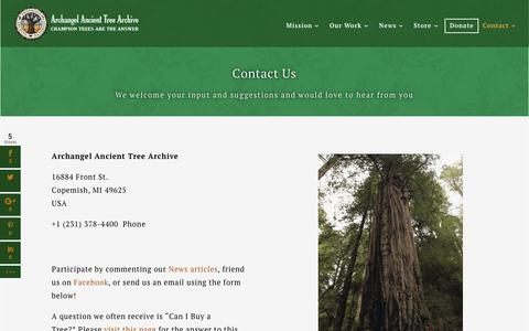 Screenshot of Contact Page ancienttreearchive.org - Contact Us | Archangel Ancient Tree Archive - captured Nov. 21, 2016