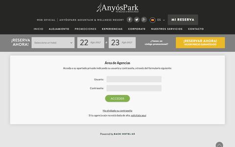Screenshot of Login Page anyospark.com - Área privada agencias AnyósPark Mountain & Wellness Resort - captured Aug. 22, 2017