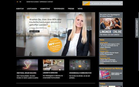 Screenshot of Home Page lingner.de - Werbeagentur Nürnberg Fürth München | Lingner Marketing GmbH - captured Jan. 30, 2016