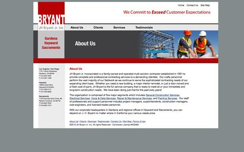 Screenshot of About Page jhbryant.com - J.H. Bryant Construction » About Us - captured Nov. 18, 2016