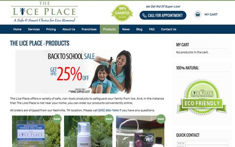 Screenshot of Products Page theliceplace.com - The Lice Place - Products - captured Sept. 7, 2019