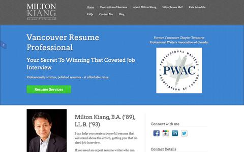 Screenshot of Home Page resumeprofessional.net - Vancouver Resume Professional | Your Secret To Winning a Job Interview - captured Oct. 7, 2014