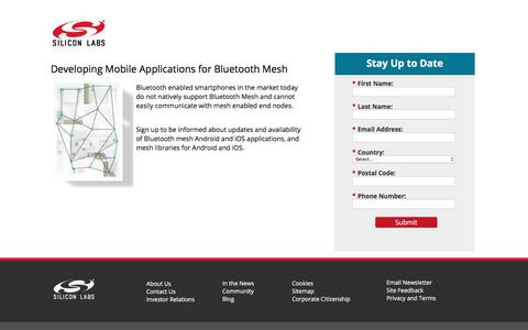 Screenshot of Landing Page silabs.com - Developing Mobile Applications for Bluetooth Mesh | Silicon Labs - captured April 21, 2018