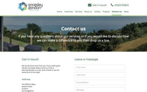 Screenshot of Contact Page annesleygandon.co.uk - Contact Us | Annesley Gandon - captured July 30, 2018