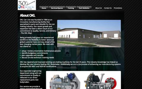 Screenshot of About Page oklcan.com - OKL Can Line Inc. - captured Oct. 26, 2014