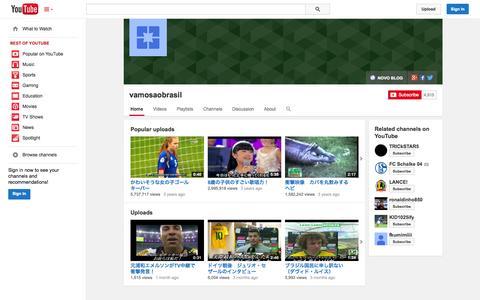 Screenshot of YouTube Page youtube.com - vamosaobrasil  - YouTube - captured Nov. 3, 2014