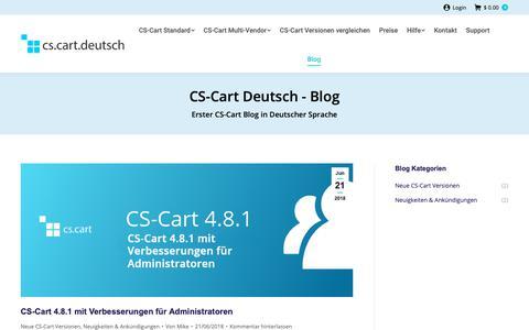 Screenshot of Blog cs-cart-deutsch.com - CS-Cart-Blog - Shopping Cart Software | eCommerce Lösungen | CS-Cart basierte Webshops | Schlüsselfertige Online Shop Software - captured Oct. 24, 2018