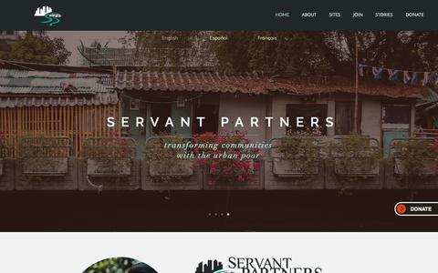 Screenshot of Home Page servantpartners.org - Servant Partners | transforming communities with the urban poor - captured Nov. 5, 2018