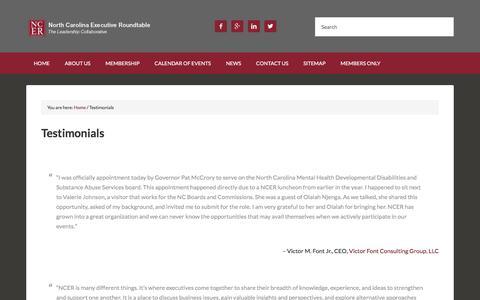 Screenshot of Testimonials Page ncer1.org - Testimonials - North Carolina Executive Roundtable - captured Nov. 30, 2016
