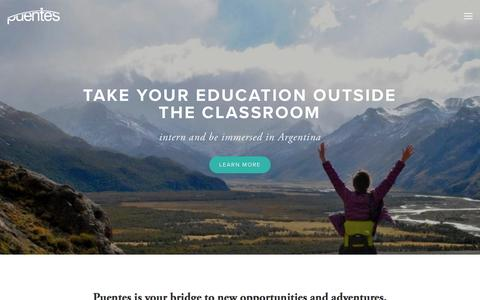 Screenshot of Home Page puentesabroad.com - Puentes Abroad - captured July 22, 2018