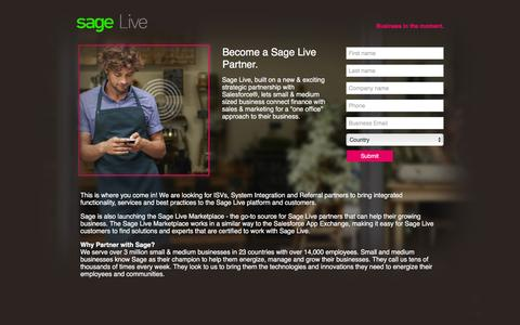 Screenshot of Landing Page sage.com - Sage Live - Partner Request Info Page - captured Dec. 30, 2015