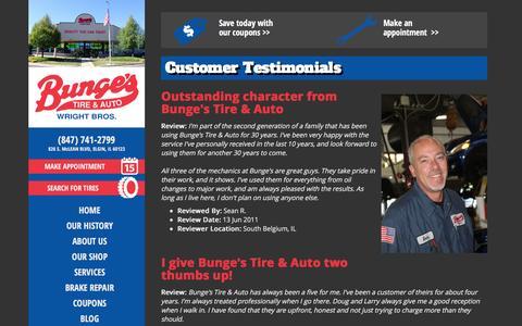 Screenshot of Testimonials Page bungestire.com - Testimonials | Elgin, IL Tire Service, Auto & Truck Repair, Care Care - captured Feb. 8, 2016