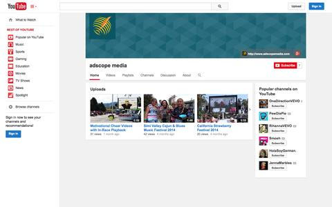 Screenshot of YouTube Page youtube.com - adscope media  - YouTube - captured Oct. 23, 2014