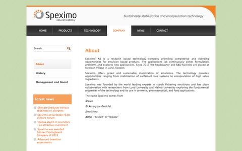 Screenshot of About Page speximo.com - About - Speximo | Starch Pickering Emulsion Technology - captured Oct. 6, 2014