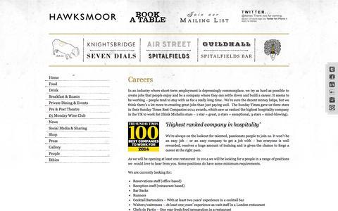 Screenshot of Jobs Page thehawksmoor.com - Careers   The Hawksmoor - captured Sept. 19, 2014
