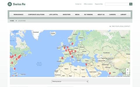 Screenshot of Locations Page swissre.com - Locations | Swiss Re - Leading Global Reinsurer - captured Feb. 5, 2017