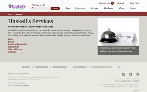 Screenshot of Services Page haskells.com - Services | Haskell's - captured May 15, 2017